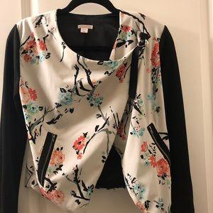 Xhilaration Floral Jacket with Zipper Details XS